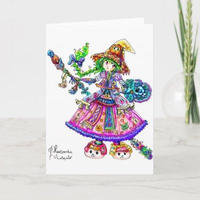 Cute Anime Witch Kawaii Halloween Magic Spell greeting card $ 3.80