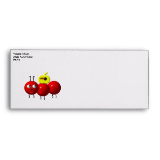 Cute ant with apple envelope