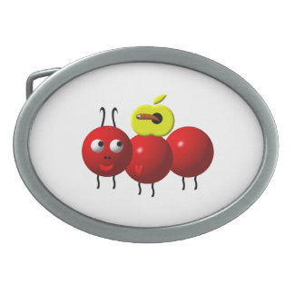 Cute Ant with Apple Oval Belt Buckle