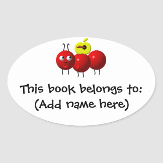 Cute ant with apple oval sticker