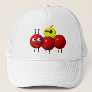 Cute ant with apple trucker hat