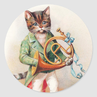 Cute Anthropomorphic Cat with French Horn Stickers