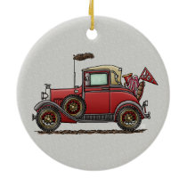 Cute Antique Car Ceramic Ornament