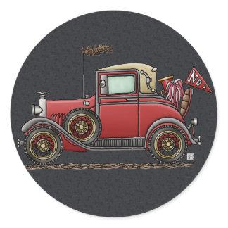 Cute Antique Car Classic Round Sticker