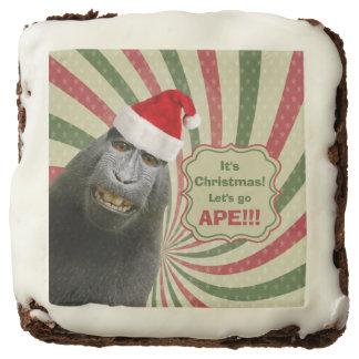 Cute Ape in Santa Hat It's Christmas Let's Go Ape! Chocolate Brownie