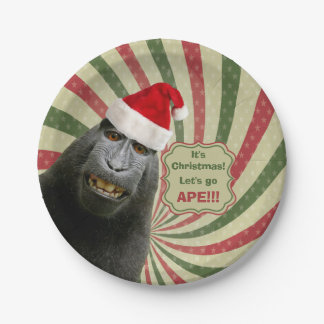 Cute Ape in Santa Hat It's Christmas Let's Go Ape! Paper Plate