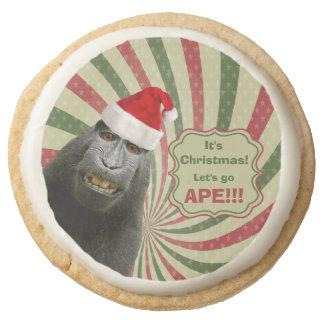 Cute Ape in Santa Hat It's Christmas Let's Go Ape! Round Shortbread Cookie