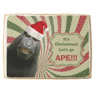 Cute Ape in Santa Hat It's Christmas Let's Go Ape! Shortbread Cookie