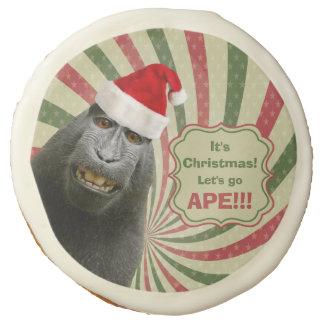 Cute Ape in Santa Hat It's Christmas Let's Go Ape! Sugar Cookie