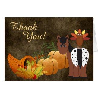 Cute Appaloosa Horse and Turkey Autumn Thank You Card