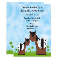 Cute Appaloosa Mare and Foal Horse Baby Shower Invitation