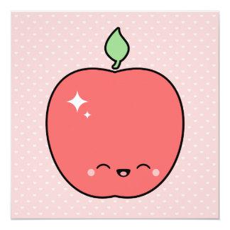 Cute Apple Birthday 5.25x5.25 Square Paper Invitation Card