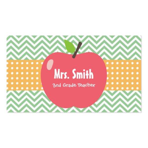Cute Apple Chevron Stripes Teacher Business Card