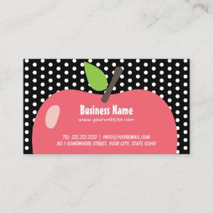 Cute business cards zazzle cute apple child care black dots business card colourmoves