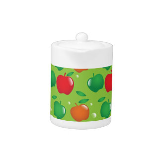Cute apple green and red pattern teapot