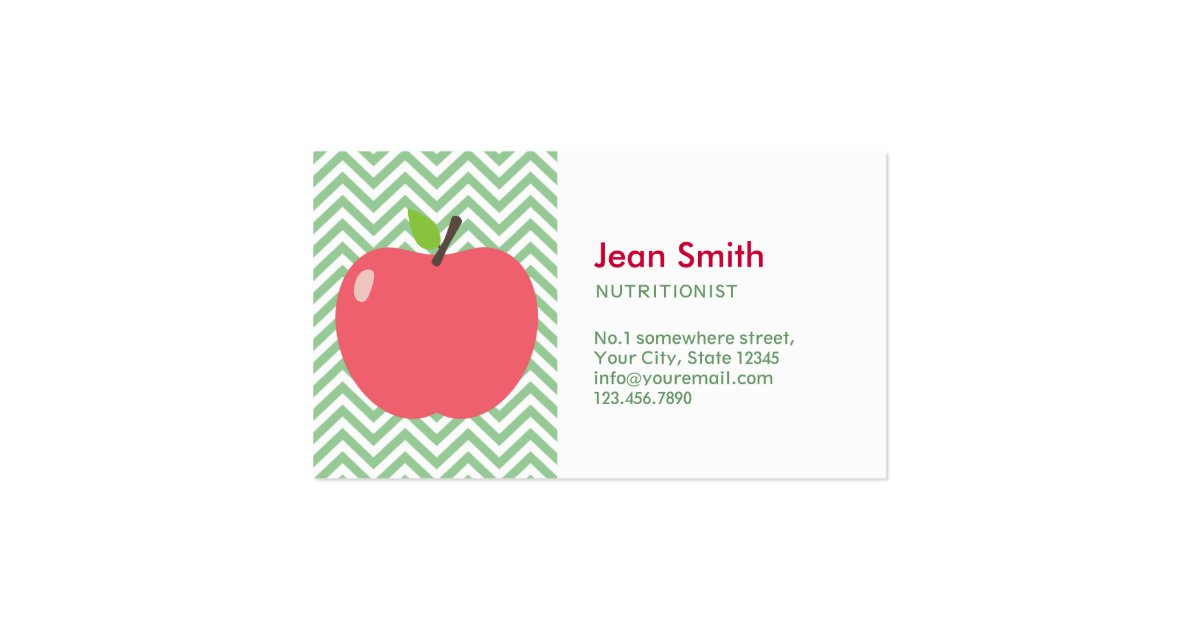 Cute apple green chevron nutrition business card zazzle for Nutrition business cards