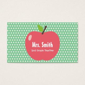 Cute Apple Green Polka Dots School Teacher Business Card