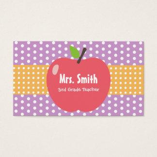 Cute Apple Lavender Dots Teacher Business Card
