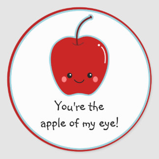 Cute Apple of My Eye Cartoon Classic Round Sticker