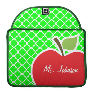 Cute Apple on Electric Green Quatrefoil MacBook Pro Sleeve