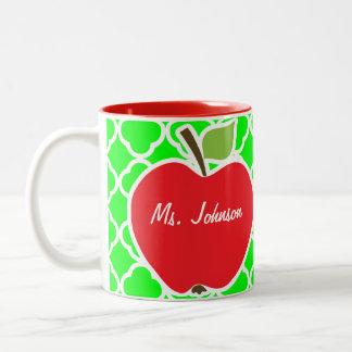 Cute Apple on Electric Green Quatrefoil Two-Tone Coffee Mug