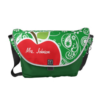Cute Apple on Kelly Green Paisley Courier Bag