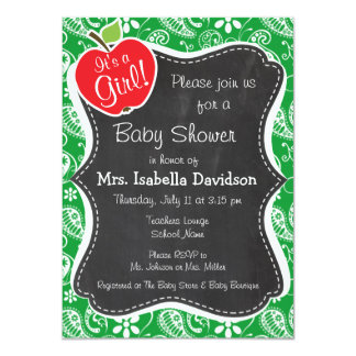 Cute Apple on Kelly Green Paisley Personalized Invitation