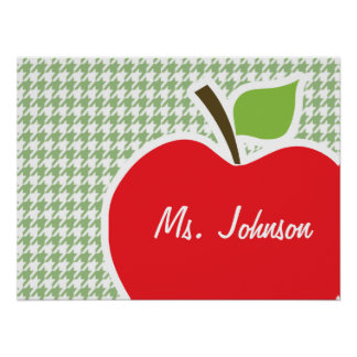 Cute Apple on Laurel Green Houndstooth Print