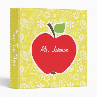 Cute Apple on Lemon Yellow Paisley 3 Ring Binder