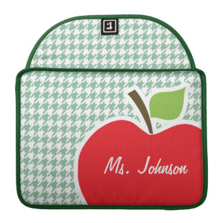 Cute Apple on Sea Green Houndstooth Sleeve For MacBook Pro