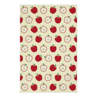 Cute Apple Pictures Pattern Poster