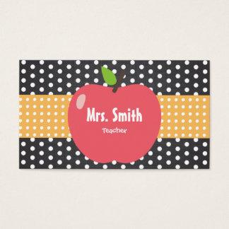 Cute Apple Polka Dots School Teacher Business Card