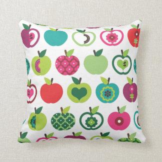 Cute apple retro pattern flower design throw pillow