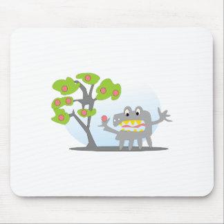 CUTE APPLE TREE & CARTOON MONSTER KIDS ART GRAPHIC MOUSE PAD