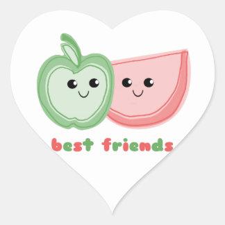Cute Apple & Watermelon Best Friends Heart Sticker