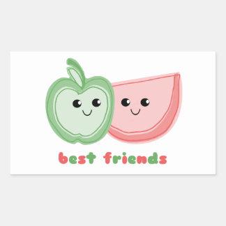 Cute Apple & Watermelon Best Friends Rectangular Sticker