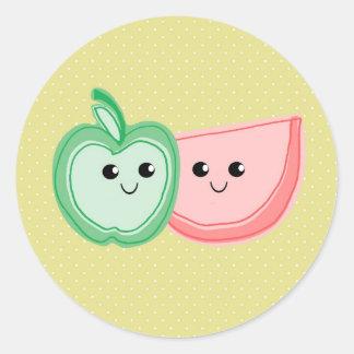 Cute Apple & Watermelon Friends Classic Round Sticker