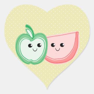 Cute Apple & Watermelon Friends Heart Sticker