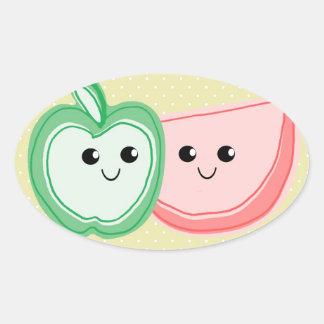 Cute Apple & Watermelon Friends Oval Sticker