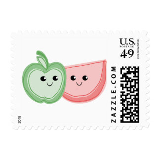 Cute Apple & Watermelon Friends Postage Stamps