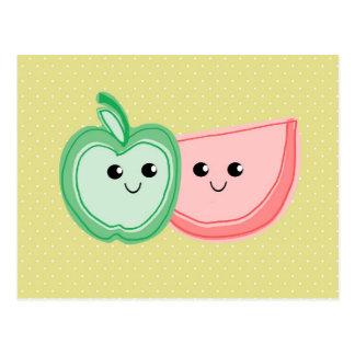 Cute Apple & Watermelon Friends Post Card