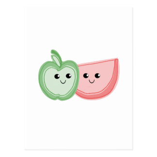 Cute Apple & Watermelon Friends Post Cards