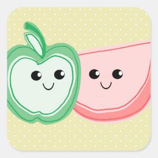Cute Apple & Watermelon Friends Square Sticker