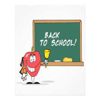 cute apple with back to school chalkboard cartoon flyer