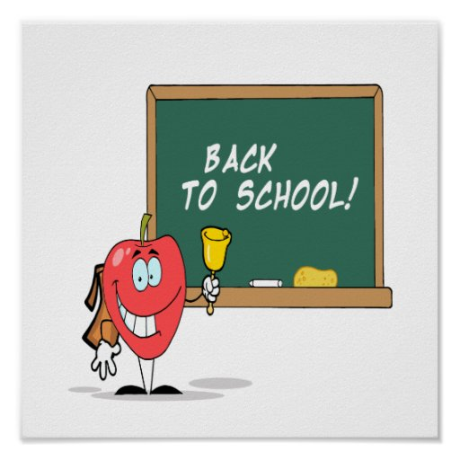 cute apple with back to school chalkboard cartoon poster
