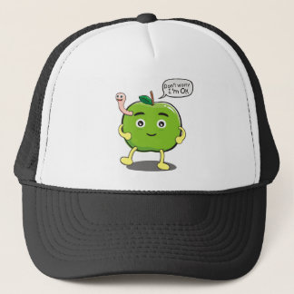 cute Apple With cute worm Trucker Hat