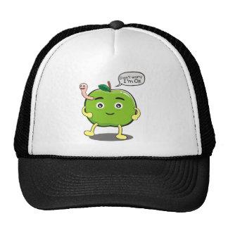 cute Apple With cute worm Trucker Hat
