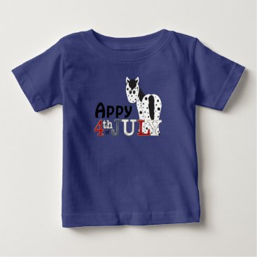 USA Themed Cute Appy 4th of July Leopard Appaloosa Horse Baby T-Shirt