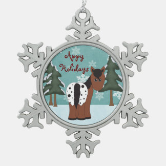 Cute Appy Holidays Blanket Appaloosa Horse Snowflake Pewter Christmas Ornament