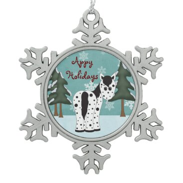 Christmas Themed Cute Appy Holidays Leopard Appaloosa Horse Snowflake Pewter Christmas Ornament